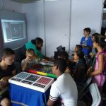 online multiplayer game and electronic board at science festival