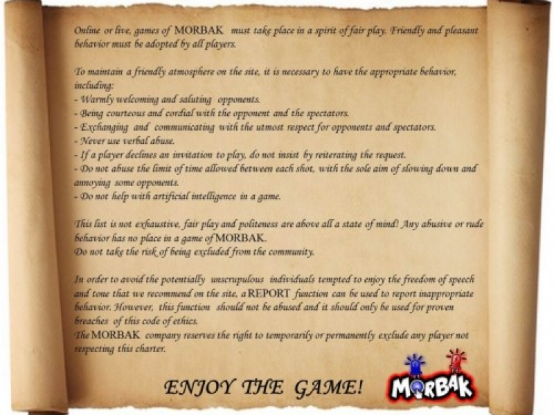 The ethics charter of multiplayer game morbak, online or with electronic board